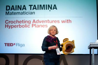 Daina in Riga Latvia presenting at the Riga TED Talks