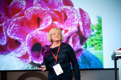 Daina in Riga Latvia presenting at the Riga TED Talks