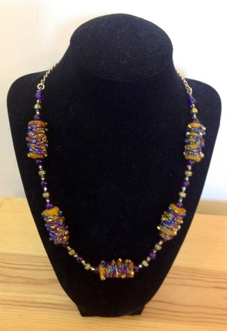 Tan and purple necklace by Amy Nichols and Allison Olds