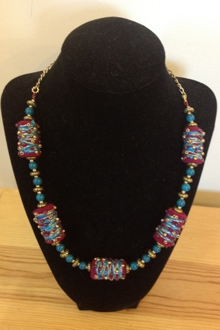 Turquoise and Magenta Necklace by Allison Olds and Amy Nichols