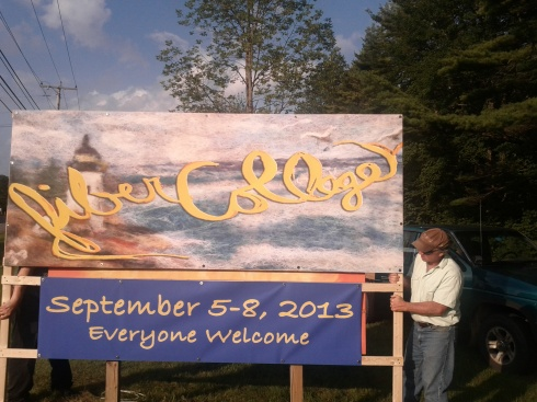 New Road Banner...a collaborative effort of Marty Elkin's Needle Felt, Susan Tobey White's painting and Steven's engineering.