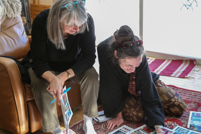 Liz Lodge and Kathy Goldner discussing color and design balance
