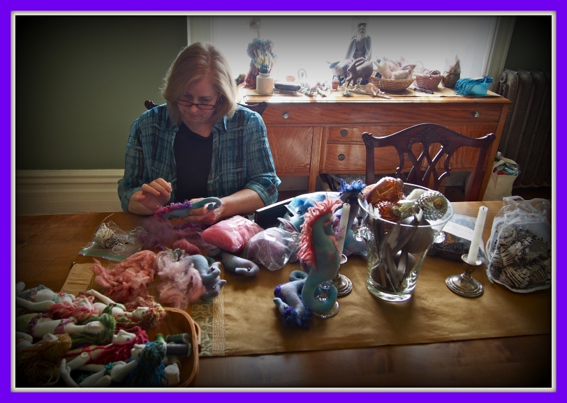 Fiber artist Amy Felske at work
