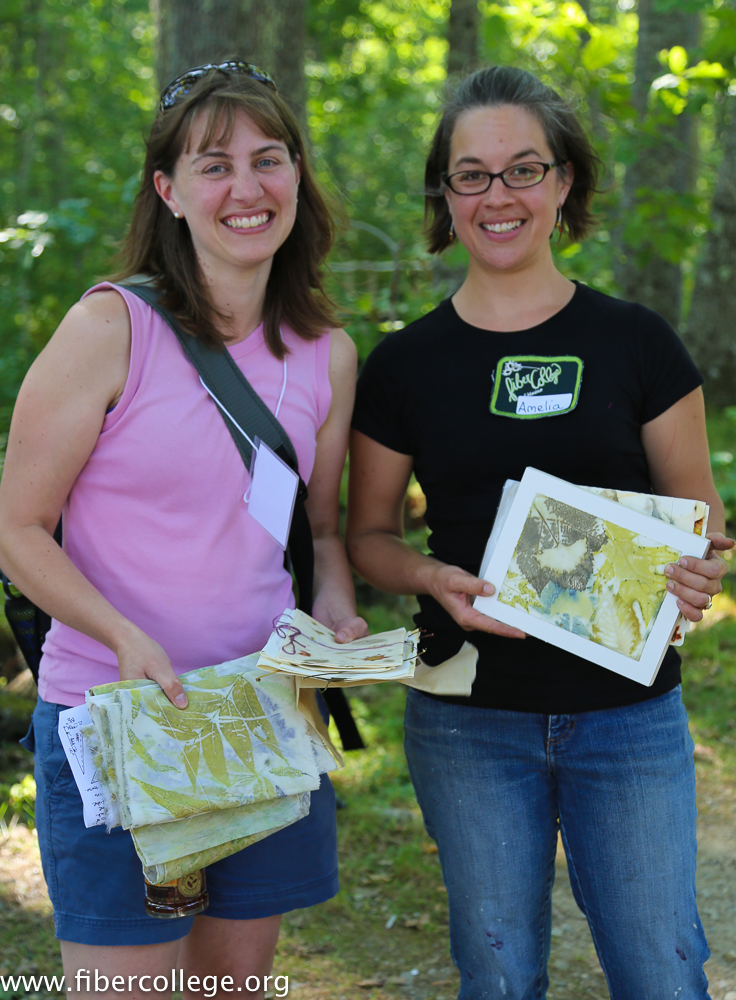 Instructor Amelia Poole (left)and student show the results of eco-printing workshop