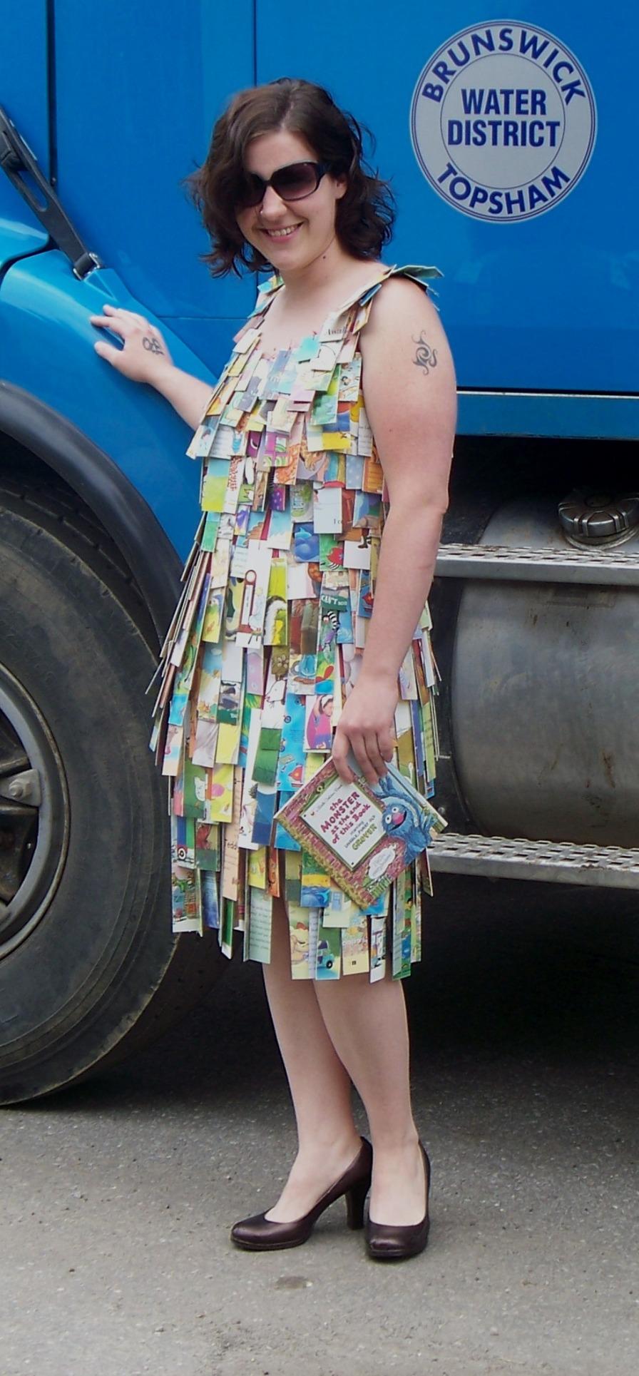 Julia Gleason wears A Dress Book, an altered book form.