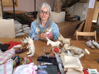 Sally works with a variety of materials to create her whimsical creatures.