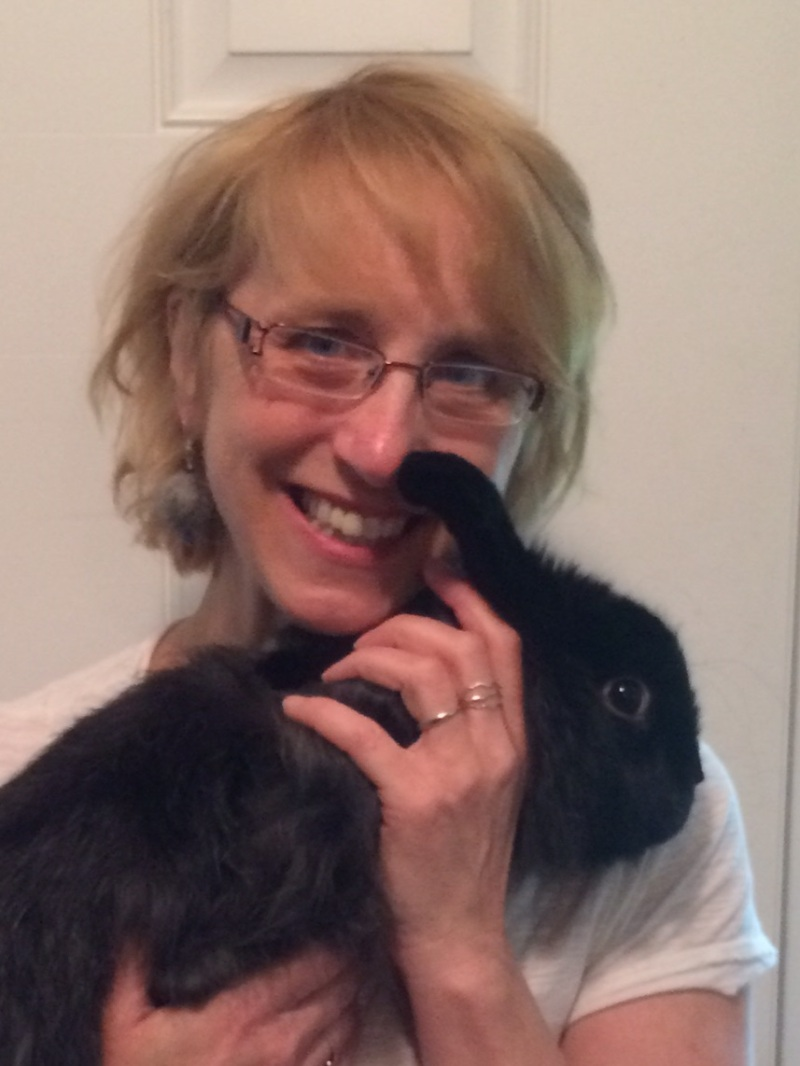 Kris with her Satin Angora rabbit, Bun-buns