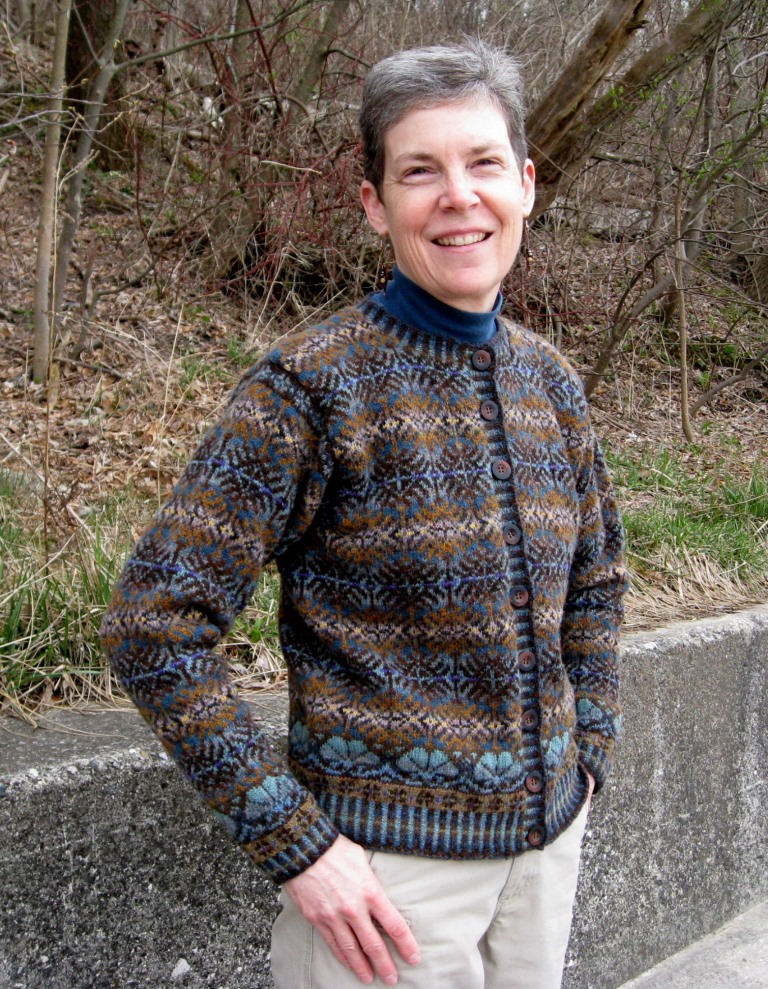 Mary's Latvian Forest Cardigan is one of her favorite completed projects.
