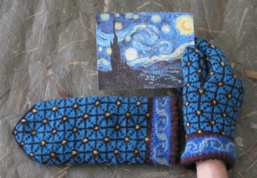 Another favorite project of Mary's, her Starry Night Mittens.