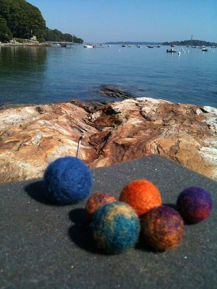 Kathleen loves sitting near the ocean when she felts beads.