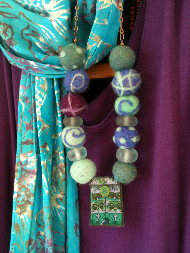 Kathleen's color choices for her felted beads are delicious!