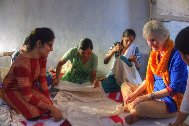 Shira in India with a women's sewing cooperative