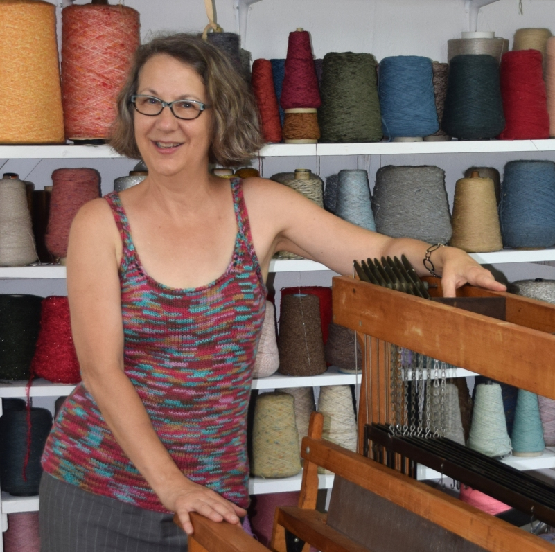 Daryl surrounds herself with beautiful fiber in her studio