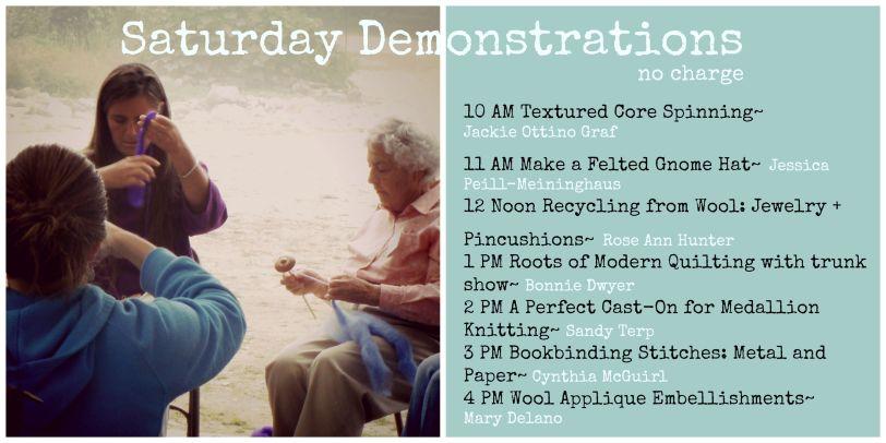 Saturday Demonstration Schedule