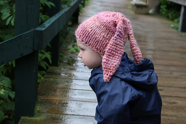 Amy Lou made this bunny hat with her homespun using both knit and crochet