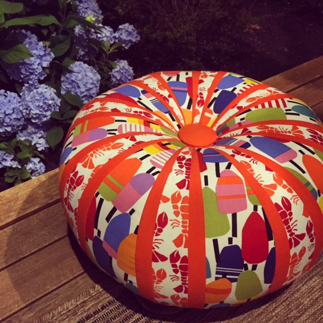 An example of a tuffet with a focus fabric and theme. What fun!