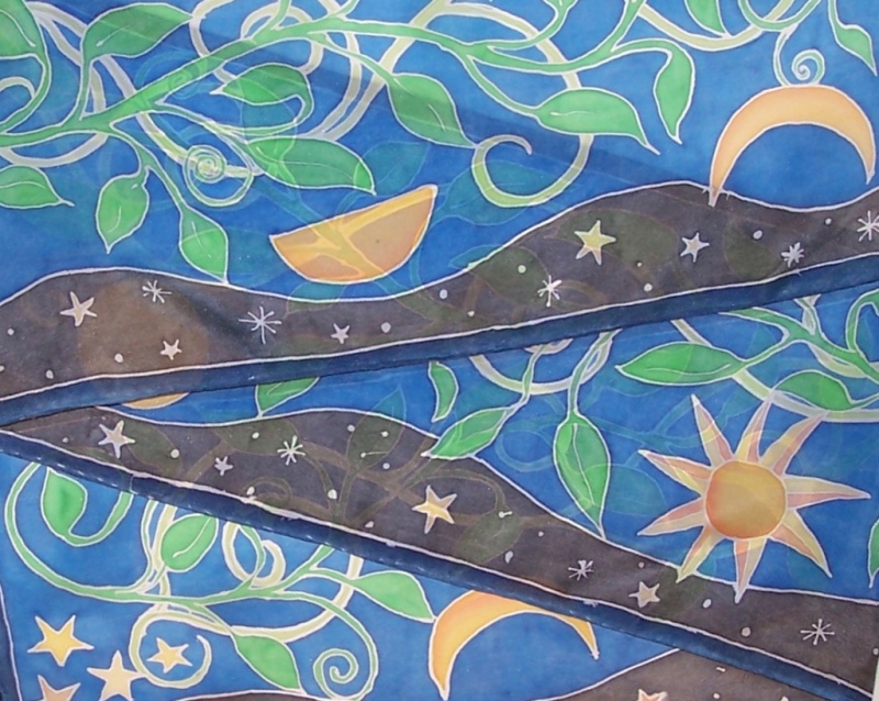 Sun and star motifs on silk