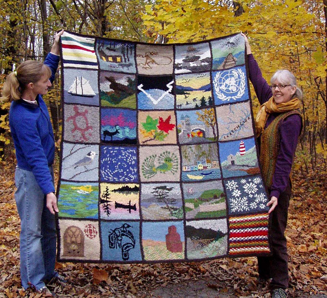 Colleen's fantastic Canada Quilt -- you can read more about it on Ravelry (Teerling)