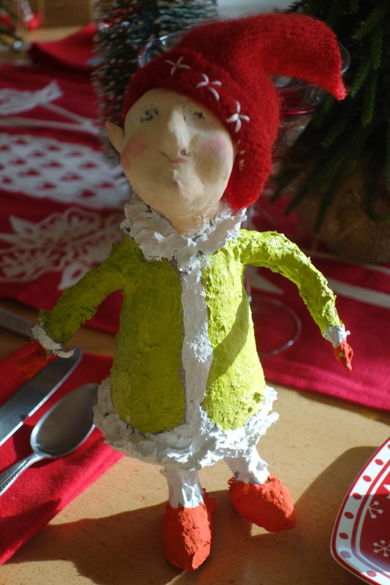 A sweet paper mache elf